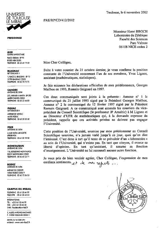 """Cercle Zetetique : Concernant le """"professeur"""" Yves Lignon ..."""